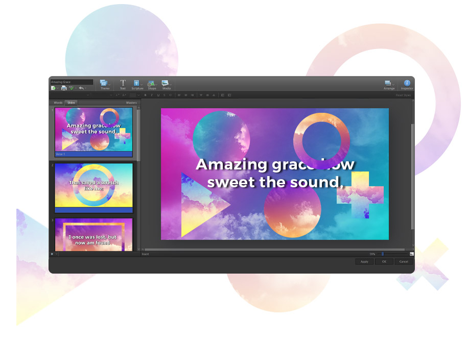 Song slide in EasyWorship Theme Editor with shapes filled