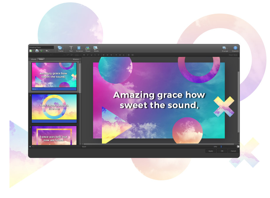 Song slide in EasyWorship Theme Editor with shapes moved to outside